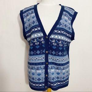 BRAND NEW (used) print grannycore sweater vest XL